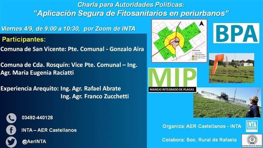 En este momento estás viendo CHARLA PARA AUTORIDADES POLITICAS: «Aplicación de fitosanitarios en Periurbanos»
