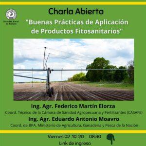 Lee más sobre el artículo Charla Abierta: Buenas Prácticas de Aplicación de Fitosanitarios-Ing. ELORZA y MOAVRO