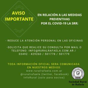 IMPORTANTES AVISOS INSTITUCIONALES POR EL COVID -19