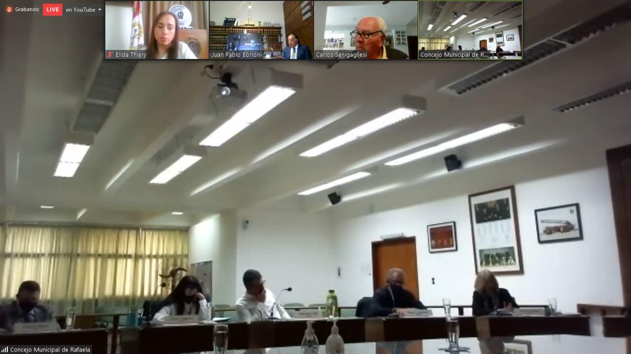 TRansmisión en vivo de la charla por ZOOM. Disertantes, Concejales con coordinación de Elida Thiery