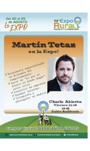 Lee más sobre el artículo ExpoRural 2019: Confirmado Martín Tetáz en la Charla Abierta