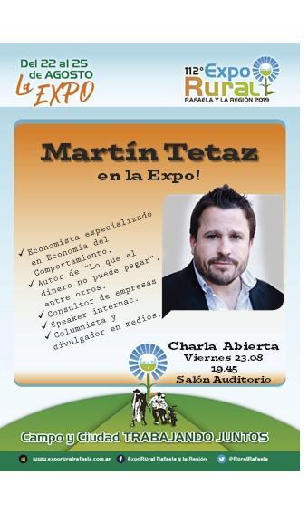 ExpoRural 2019: Confirmado Martín Tetáz en la Charla Abierta