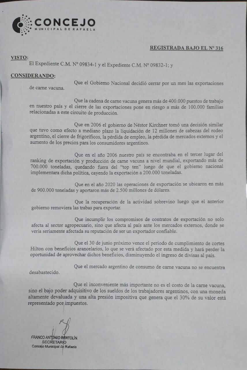 """En este momento estás viendo El Concejo Municipal de Rafaela expresó en una declaración su """"absoluto malestar por el cierre de las exportaciones de carne vacuna""""…"""